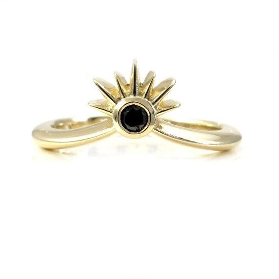 Sunset Diamond Stacking Chevron Wedding Band - Black or White Diamond - 14k Yellow Gold
