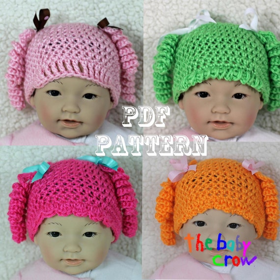Crochet Baby Hat Pattern - Cute Girl's Character Hat Pattern -  Crochet Baby Hat - Photo Prop