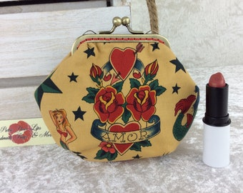 Gothic Tattoos coin purse wallet fabric kiss clasp frame wallet change pouch Alexander Henry Tattoo