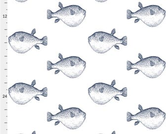 Pufferfish puffer fish WallPaper MADE IN USA blowfish blow fish Wall paper Peel & Stick Self Adhesive Temporary Removable navy on white