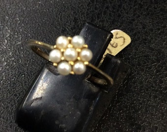 9ct gold seed pearl cluster ring