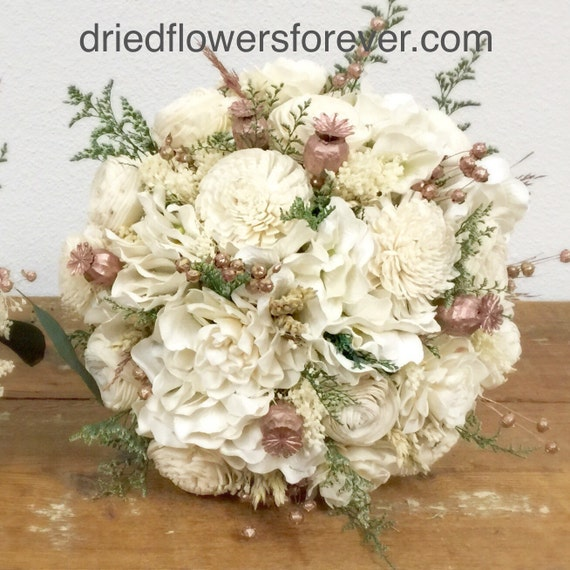Rose gold wedding bouquet preserved dried flowers pink like this item junglespirit Images