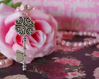 Pink Freshwater Pearl Key Necklace, Key Pendant Necklace, Fashion Jewelry