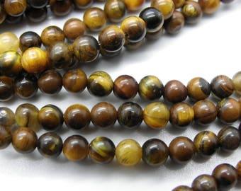 40 4 mm brown beige natural Tiger eye beads