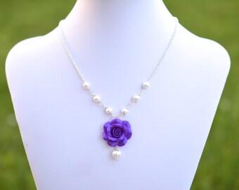 Violet Purple Rose Necklace, Violet Rose centered necklaces, Purple Flower necklace, Purple Bridesmaid Necklace, Purple wedding jewelry