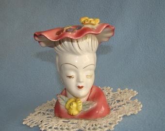 Vintage Ceramic Lady Head Vase/Planter Pink with Ruffled Edge Hat