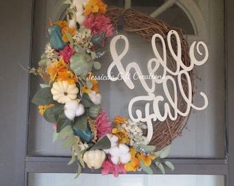 Ready to Ship Fall Grapevine Wreath/Hello Fall Monogram Wreath/Cotton Wreath/Autumn Wreath/Seasonal Wreath/Front Door Wreath/Holiday Decor