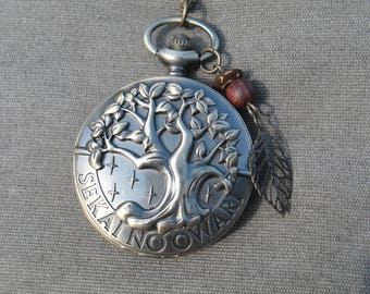 2 styles of tree of life large pocket watch