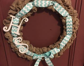 Burlap initials wreath
