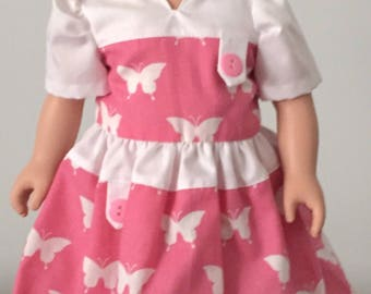 Pink Butterfly Dress for American Girl Doll