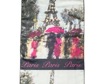 Paris Scarf, Satin Scarf, Soft Scarf, Printed Scarf, Neck Wrap, Wedding Shawl, Women's Clothing Wearable Art