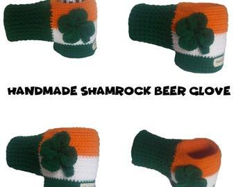 Shamrock Glove for Drinks - Irish Beer Hugger - Crocheted Clover Beer Glove - Beer Mitten - St Patricks Mitten Beer - Mittens for Beer