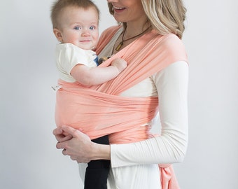 Atlanta Baby Wrap, Pink Baby Sling, Newborn Baby Carrier, Infant Carrier, Baby shower Gift, Peach Infant Wrap