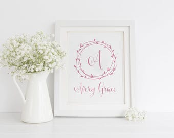 Girls Name Monogram Printable Art, Nursery Art, Baby Girl Name with Laurel Wreath, Wall Art, Printable