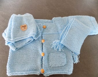 Vest, hat and scarf baby boy set