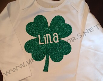 Lucky Clover Shamrock custom design for Babies! Glitter and other finishes available! Luck of the Irish Gear!