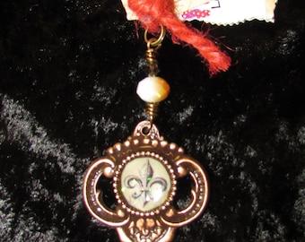 Key Pendant with Fleur De Lis Center
