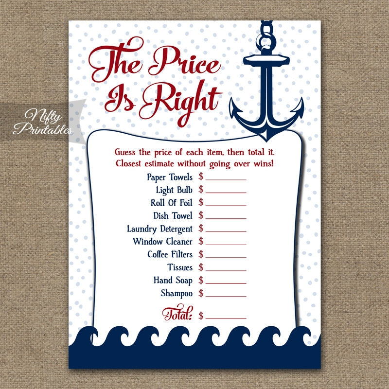 Nautical Price Is Right Bridal Shower Game Nautical Shower