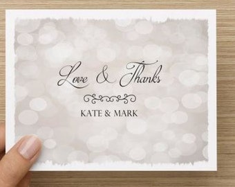 Bridal Shower Thank You Card.  Love and thanks.  Personalized.  Starry background. Multiple pack sizes available!