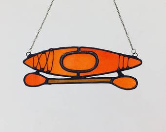 Stained Glass Kayak Ornament, Stained Glass Kayak, Kayak Suncatcher