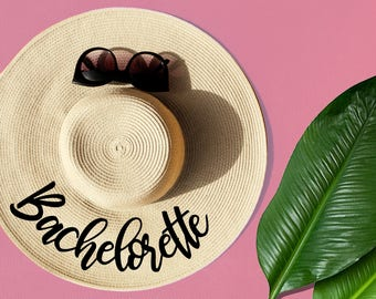 Bachelorette Floppy Straw Hat, Sun Hat, Beach Hat, Bridesmaid Gift, Newly engaged Gift, Bridal Shower Gift, Bachelorette Party Favors, Gifts