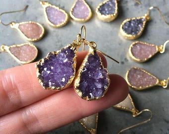 Natural Druzy Earrings, Druzy jewelry, crystal Druzy, Crystal jewelry, boho jewelry, bridesmaids jewelry