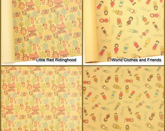 10 sheets  kraft wrapping paper for Gift Wrap and hand craft  : Little Red Ridinghood, World Clothes and Friends 78 cm X 53 cm