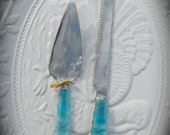 """Sea Glass Wedding Cake Knife & Server made with Recycled Bottle """"Tumbled Island Glass""""  in Sea Foam Teal Green. Dishwasher Safe Stainless"""