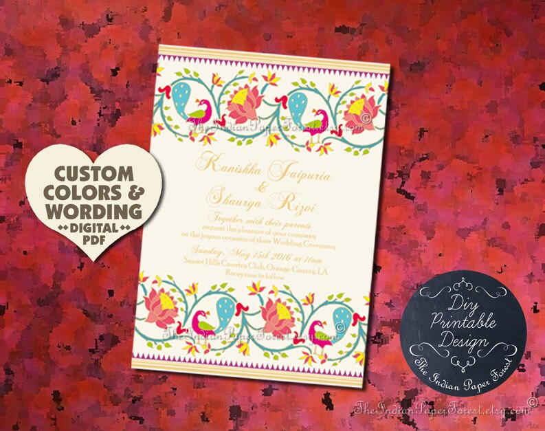 Hindu Wedding Ceremony Program Template DIY PRINTABLE Paithani
