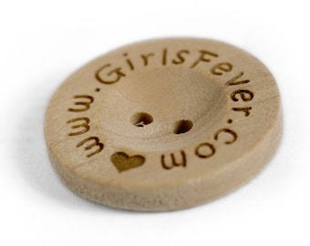 Personalised buttons, Custom Wooden Buttons 20mm 100 pcs