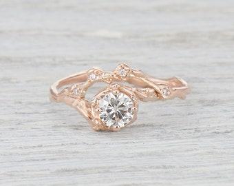 Halo Engagement Ring. Moissanite Engagement Ring. 5mm Forever One Moissanite. Naples Half Halo Ring.  Yellow Gold, White Gold, Rose Gold