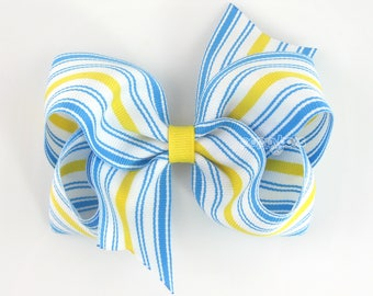 "Summer Hair Bow 4"" - Blue and Yellow Striped Hair bow 4 Inch, baby hair bow, sky blue, girls hair bows, alligator clip big b4-skyyel-strp"