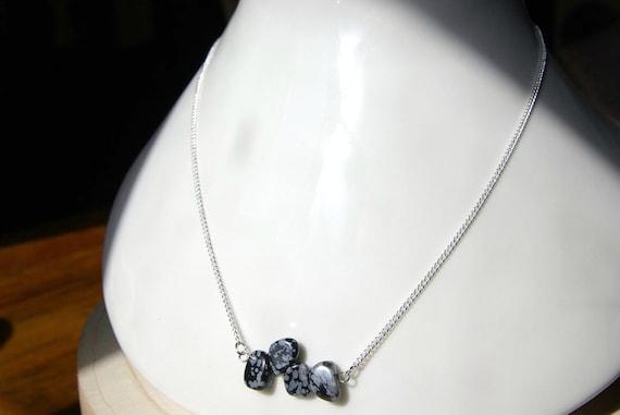 Snowflake Obsidian Bar necklace, Silver 925 necklace, Snowflake Obsidian Gemstone, birthstone, jewelry Minimalist, Zodiac