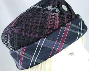 Womens Pillbox Hat | Purple Indigo Blue Hat with Black & Purple Plaid | Cuffed Hat | Blue Silk Quilted Hat | Cuff Brim Button Hat