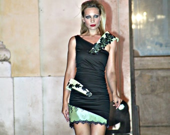 BLACK SHORT DRESS, sleeveless, with floral black and green decorative bands, zipper on the back, sexy, ooak, strange, geometric, stretchy