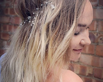Wedding Crystal Hair Vine, Delicate Silver Hair Vine, Bridal Hair Vine, Wedding Hair Vine