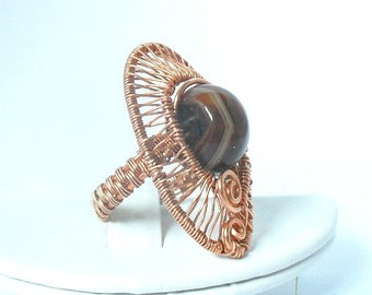 chunky wire wrapped/ woven copper ring with genuine Agate