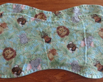 Burp Cloth ~ Two Green Junge Animals Double-sided Burp Cloths ~ Baby Shower Gift