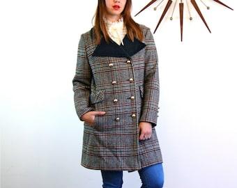 Mod 60 Coat, Plaid wool coat, Vintage 1960s coat, 60s plaid coat, Gray Black Green plaid, Double Breasted coat,Big Collar, Long Tweed Jacket