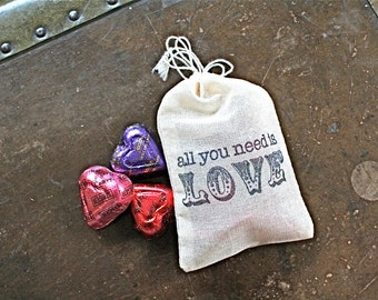 Wedding favor bags, set of 50 drawstring cotton bags, All You Need Is Love, bridal shower, party favor bags, hand stamped, cloth favor bags