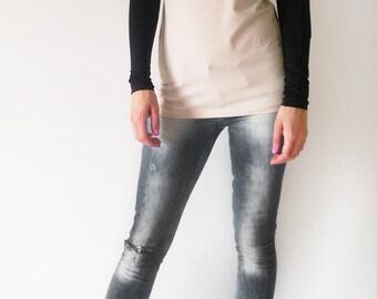 Beige Black Long Sleeves Fitted Women's Top/Minimalist Elegant Women's T-shirt