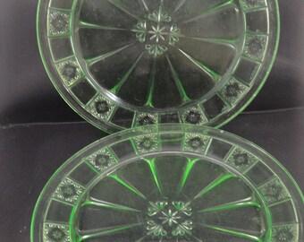 Green Depression Glass Doric Pattern Dinner Plates