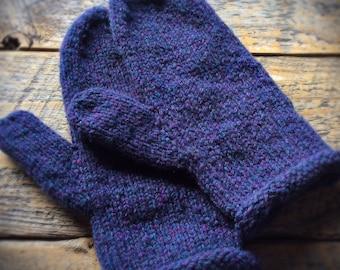 Womens blue wool mittens - hand knit