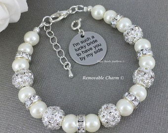 Bridesmaid Gift I'm such a lucky bride to have you by my side Maid of Honor Gift Ivory Pearl Bracelet Pearl Jewelry Thank You Gift Idea