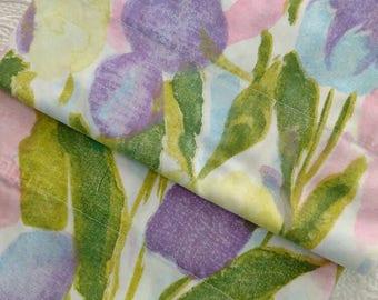 Pair Vintage Pillowcases / Cannon Monticello / Big Bold Floral / Mod / Hippie / Purple, Pink, Turquoise, Blue Flowers