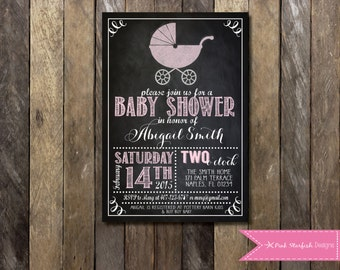 Baby Shower Invitation, Chalkboard Baby Shower, Chalkboard Invitation, Printable Invitation, Pink Baby Carriage, Chalkboard, Preppy, Pink