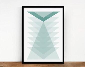 Triangles Wall Art, Geometric Wall Decor, Triangles Print, Digital Print, Mint Triangles, Monochrome Triangles, Abstract Art, Printable Art