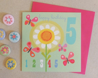 Girls 5th Birthday Card | age card | number card | happy birthday | birthday party | age five | girls card | blank inside