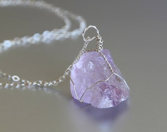 Raw Amethyst Necklace, Healing Crystal Necklace, Wire Wrapped, February Birthstone, Raw Crystal Necklace, Sterling Silver
