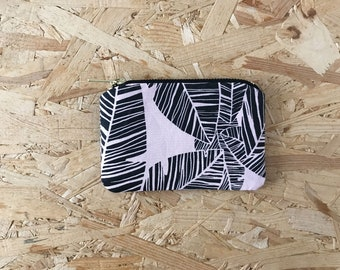 Palm Leaf Coin Purse in Pink // Small Pouch Patterned Screen Printed Zipper Pouch